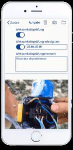 Nach der Synchronisation mit dem Hauptsystem wird die Mängelbeseitigung elektronisch mittels Workflows veranlasst.