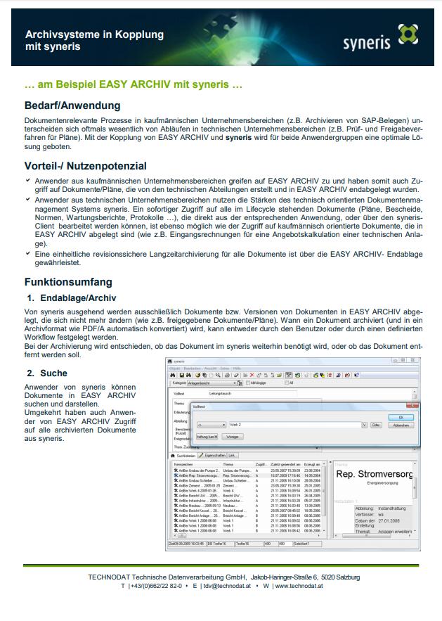 Technodat Flyer syneris Archivsysteme