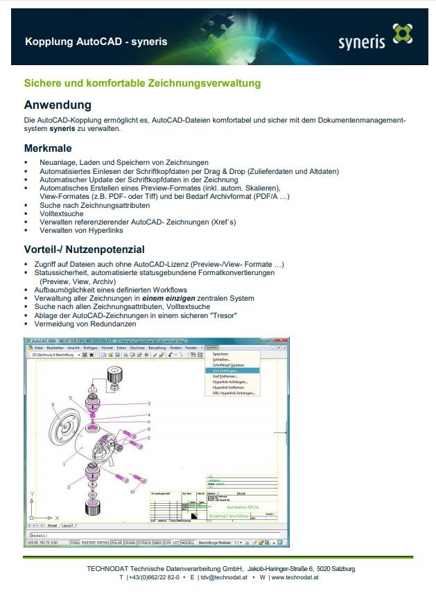 Technodat Flyer syneris AutoCAD-Kopplung