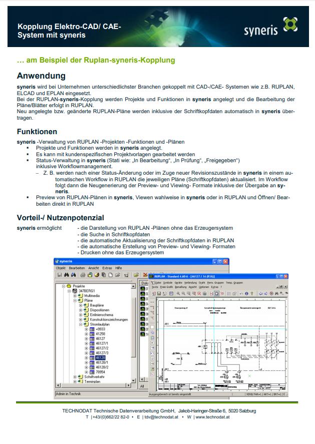 Technodat Flyer syneris ElektroCAD-Kopplung
