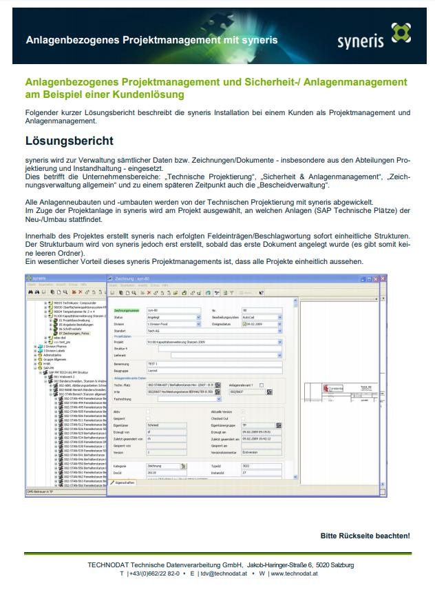 Technodat Flyer syneris Projektmanagement