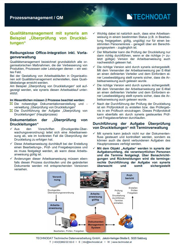 Technodat Flyer syneris Prozessmanagement QM