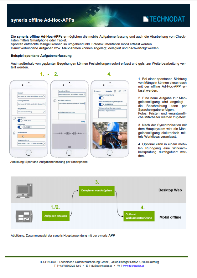 Technodat Flyer syneris offline Ad-Hoc-APP