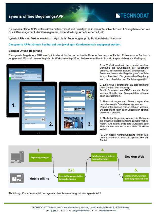 Technodat Flyer syneris BegehungsAPP