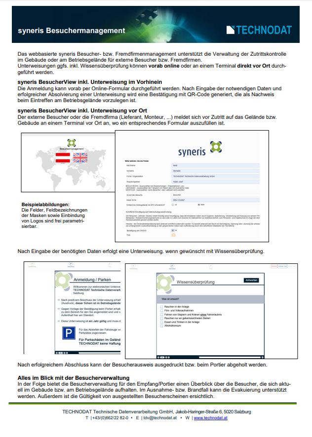 Technodat Flyer Besuchermanagement