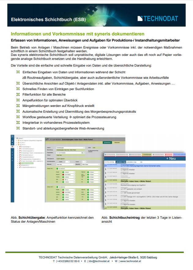 Technodat Flyer Elektronisches Schichtbuch