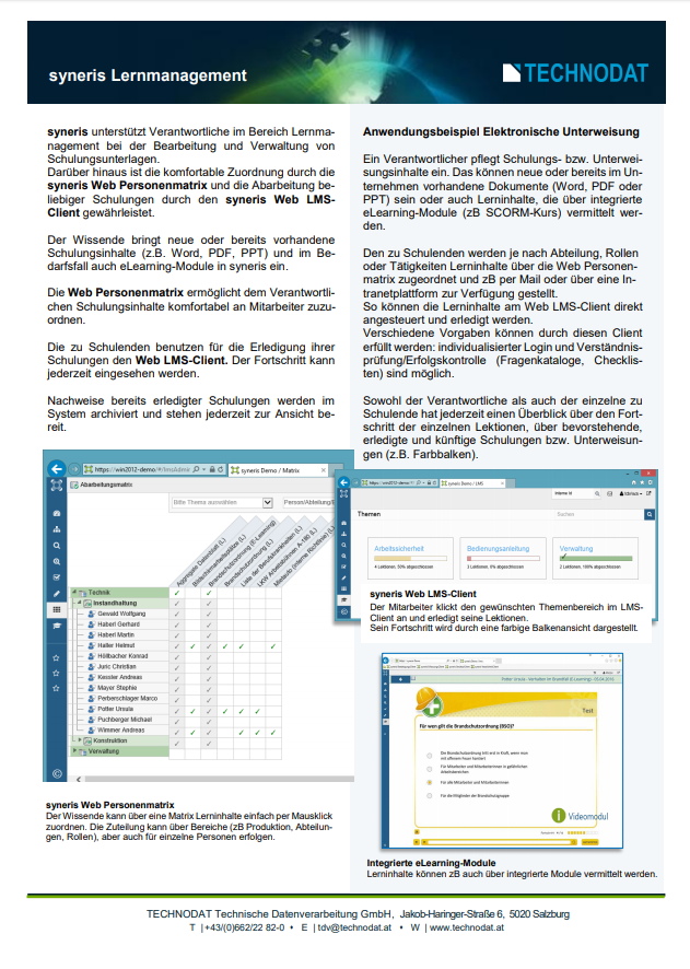 Technodat Flyer Lernmanagement