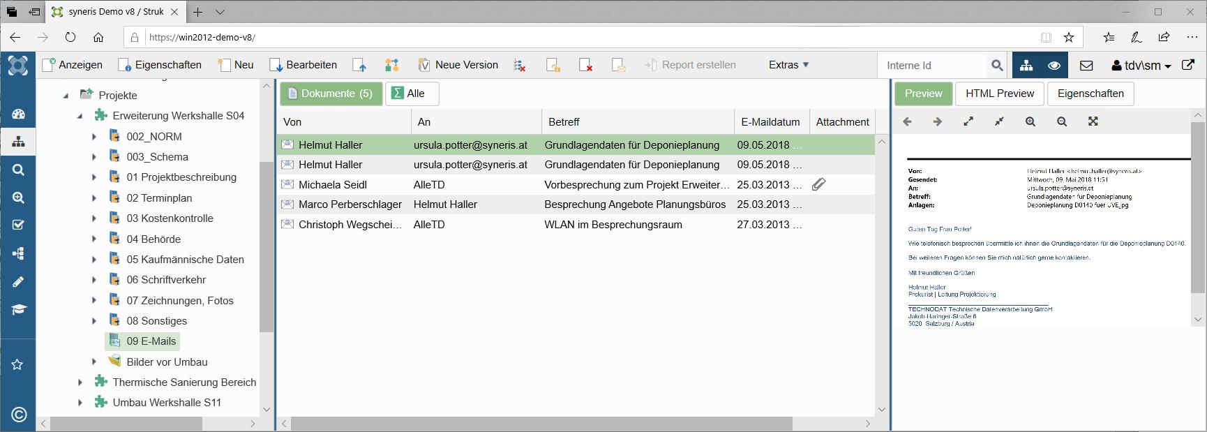 syneris E-Mailverwaltung
