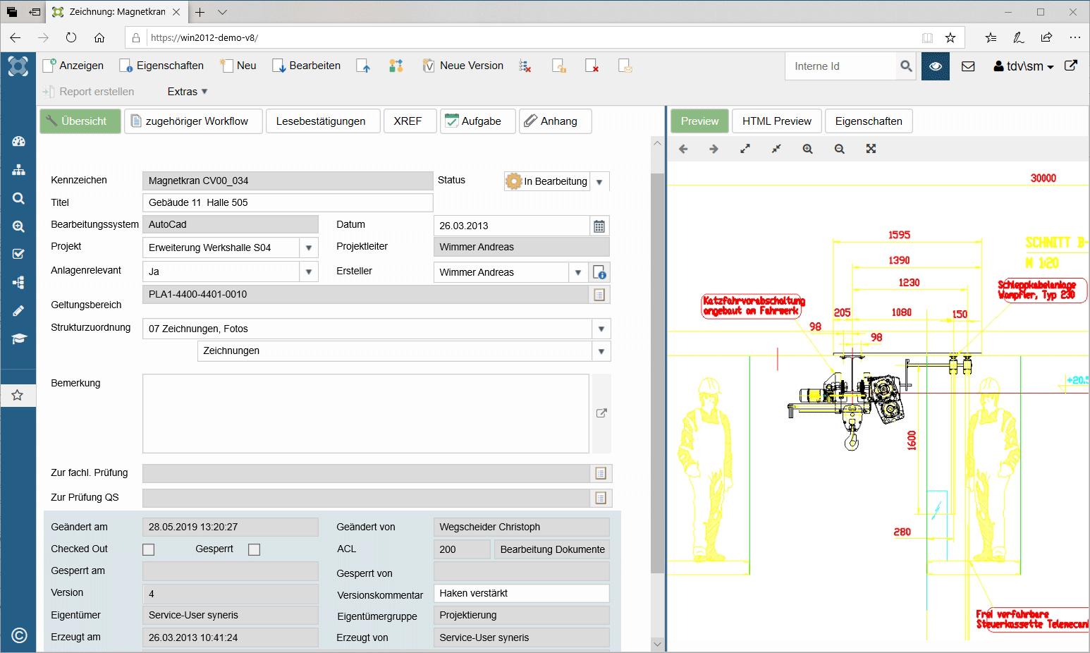 Zeichnungen und Pläne mit syneris verwalten