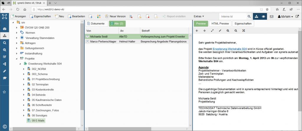 Projekte mit zugehörigen Informationen in syneris verwalten