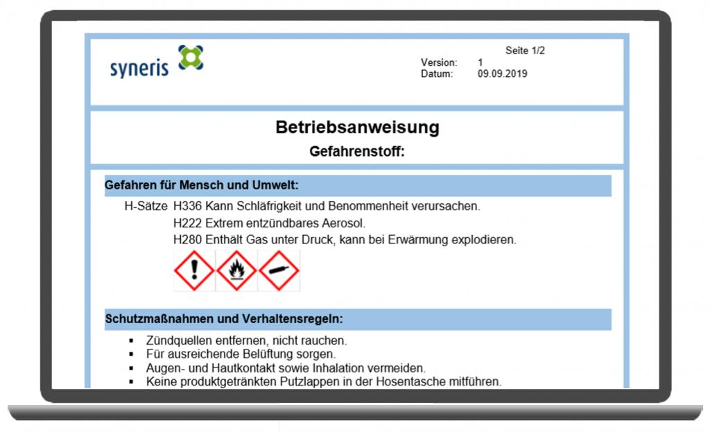 Betriebsanweisung für Gefahrstoffe