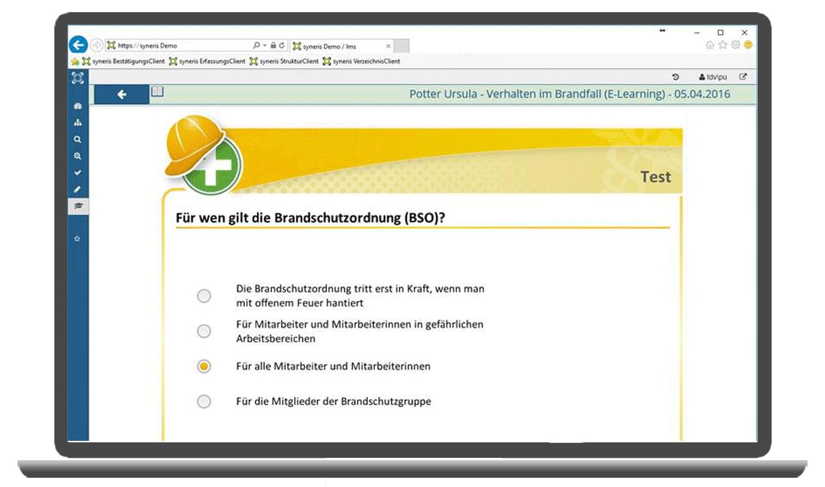 Lerninhalte werden über integrierte eLearningmodule vermittelt.
